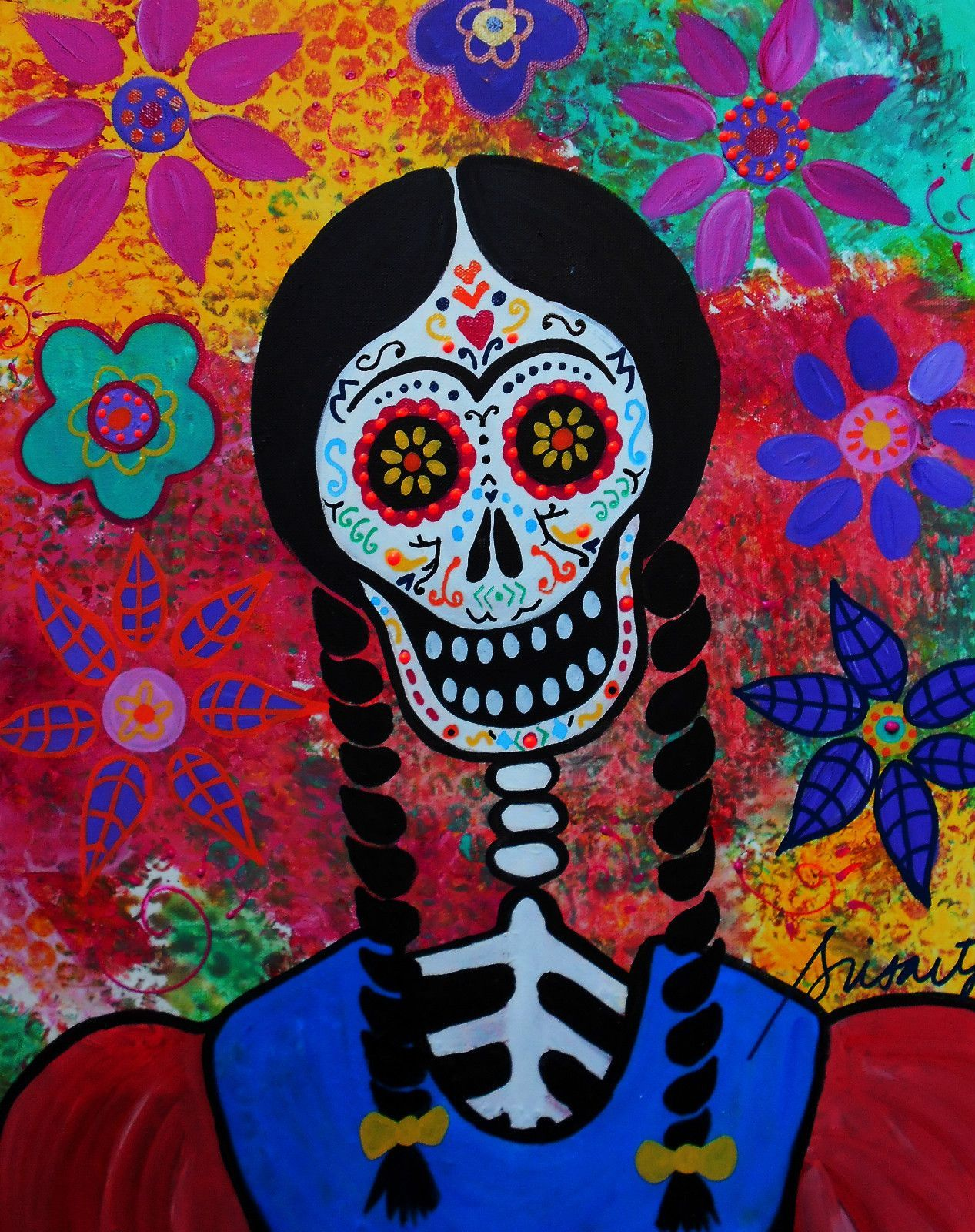 Mexican day of the dead frida kahlo flowers prisarts original folk mexican day of the dead frida kahlo flowers prisarts original folk art dailygadgetfo Images