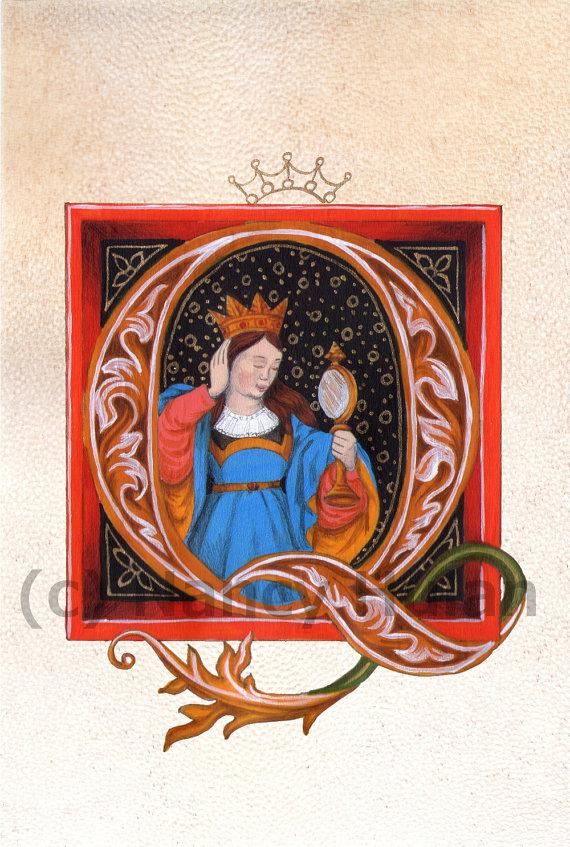 Medieval Illuminated Letter Q, Alphabet Letter Q, Medieval Painted Letter Q, Painted Initial, Renaissance Letter, Medieval Alphabet