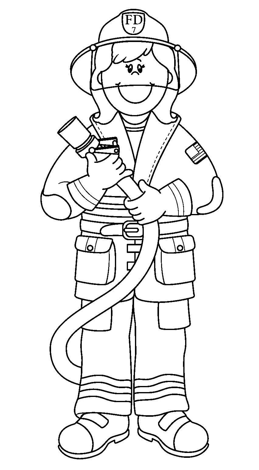 Firefighter Coloring Pages For Preschoolers Printable Fireman Coloring Pages Firefighter Clipart Cartoon Coloring Pages Firefighter Crafts
