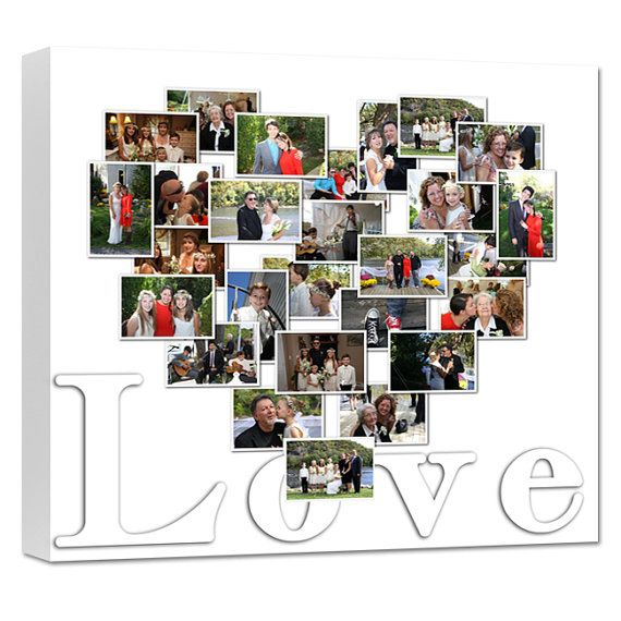 Heart Shaped Photo Collage On Canvas Or Shape Of Moon Or Letter You