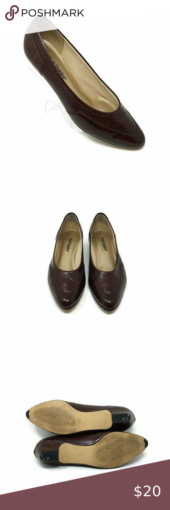 Hush Puppies Brown Faux Croc Embossed Low Heel Sli In 2020 Shoes Women Heels Low Heels Heels