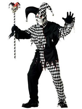 Black and White Evil Jester Costume