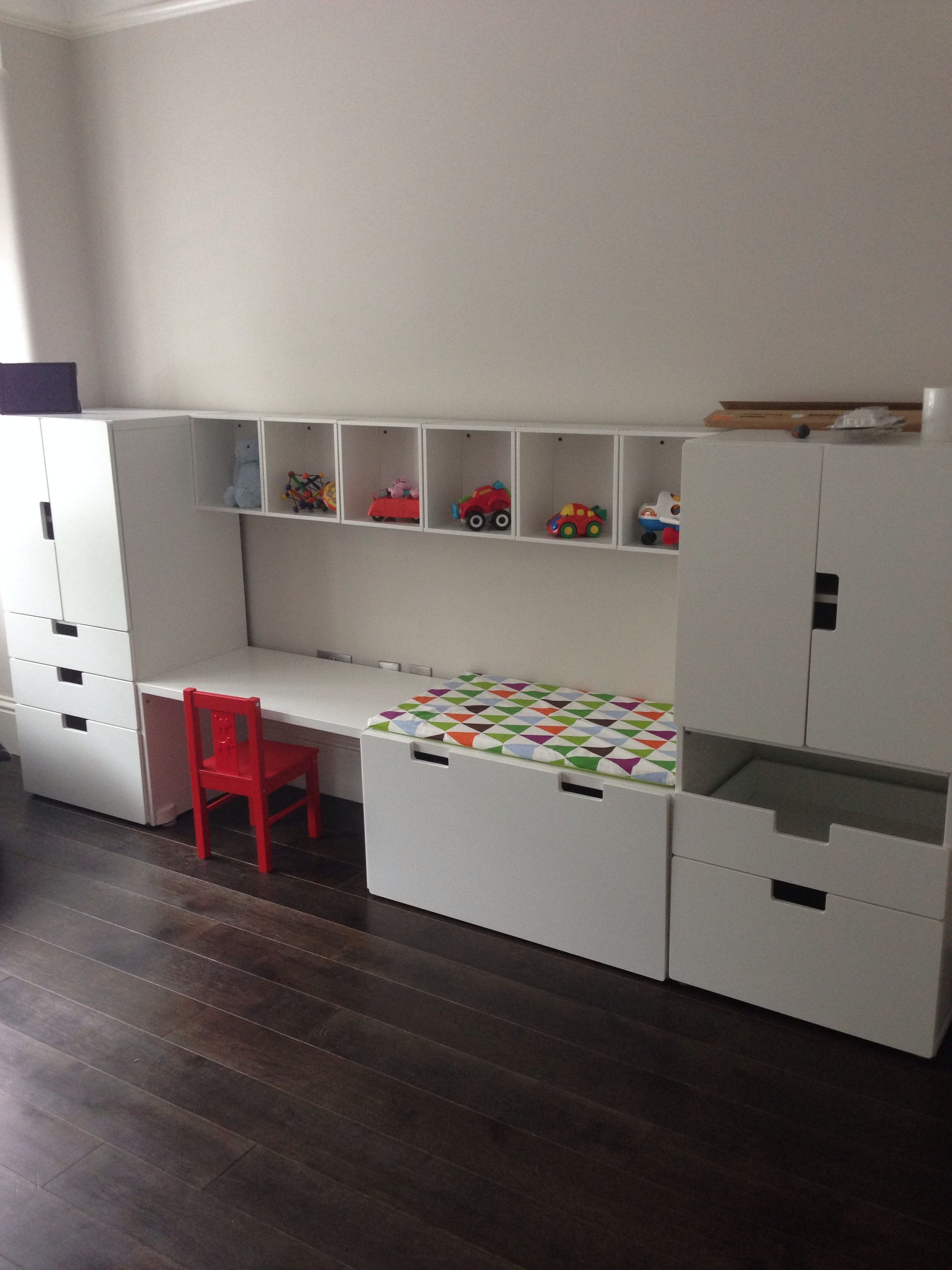 Stuva desk and units with forhoja box shelves from ikea for Ikea box shelf unit
