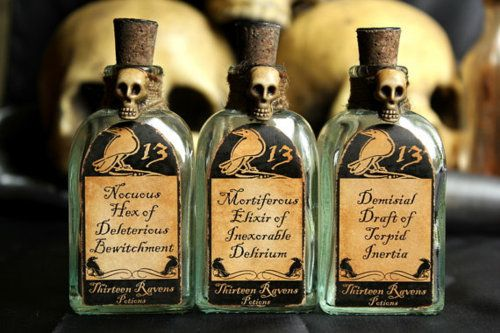 A Triad of deathly concoctionsA rather nasty-natured trio of spell bottle from DeaSpider's Thirteen Raven's series of faux potions.These 3 small square bottomed potion bottles have been handcrafted with particular attention to detail. Each has two handmade unique labels, an aged removable cork with a faux wax black seal on top which says 'deadspider' in an ambigram. Fill them with any liquid you'd like!Face labels read:*Nocuous Hex of Deleterious Bewitchment*Mortif