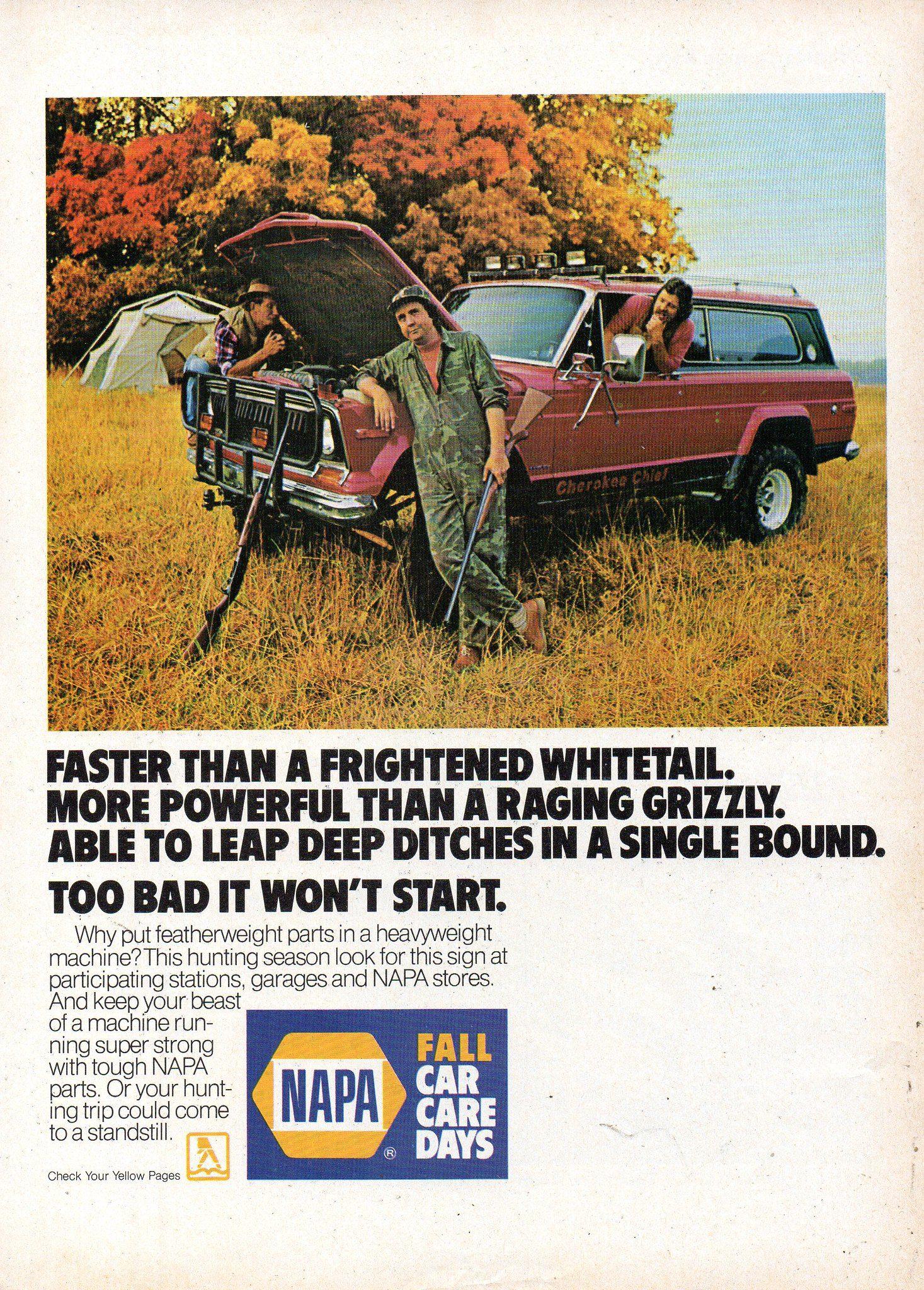 1984 Napa Car Care Parts Accessories American Motors Jeep Cherokee Usa Original Magazine Advertisement Jeep Cherokee American Motors Car Care