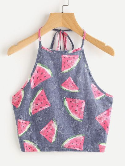 4b9b825a48b263 Watermelon Print Frayed Dot Detail Halter Top Crop Top Outfits