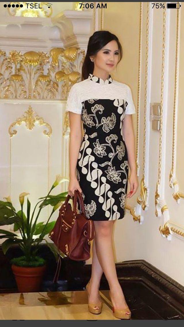 Hasil Gambar Untuk Blouse Batik Modern Lengan Pendek Batik Di 2019