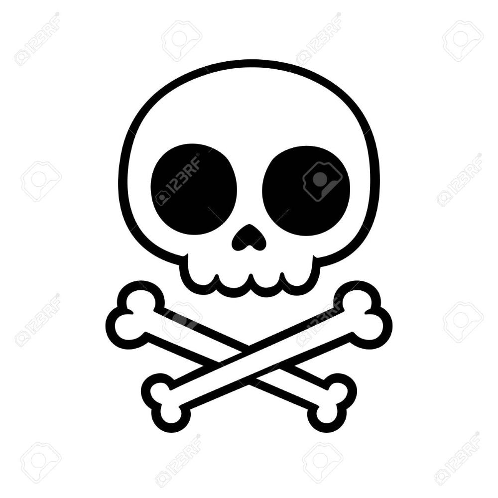 Cute Stylized Cartoon Skull And Crossbones Doodle Simple Hand Easy Skull Drawings Simple Skull Drawing Skull Art Drawing