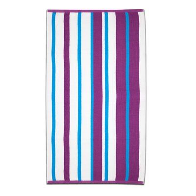 Highland Dunes Gaurav Stripe Cabana Beach Cotton Towel Color: Magenta/Teal