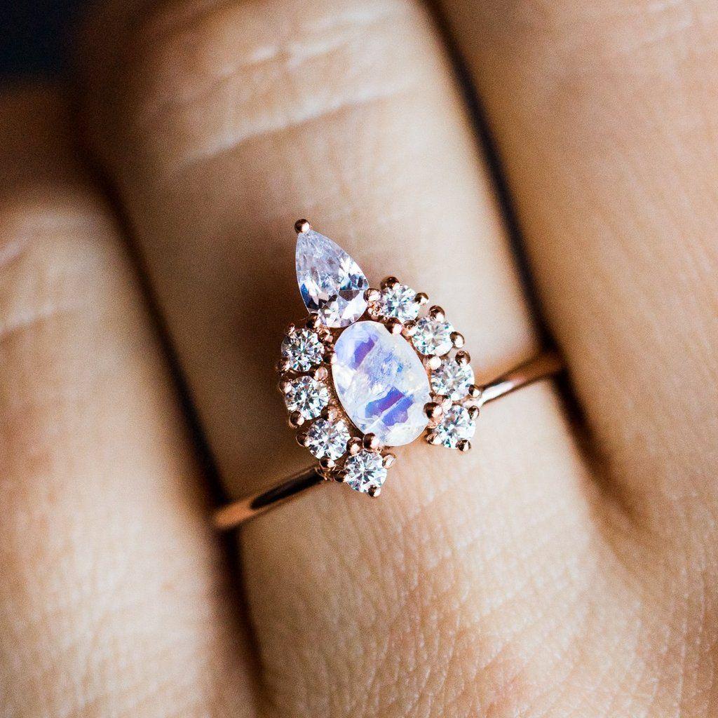 Moonstone & Diamond Princess Crown Ring Gold diamond