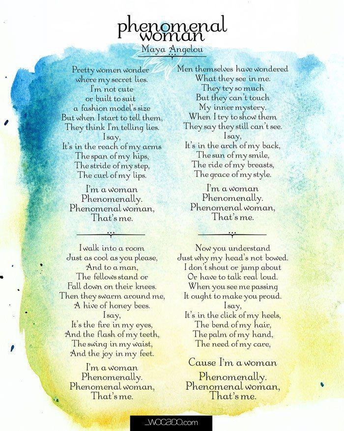 Maya Angelou Art Poem Print Phenomenal Woman Poster Drawing A4