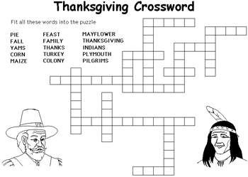 Free Kids Word Puzzles: Hard Thanksgiving Crossword ...