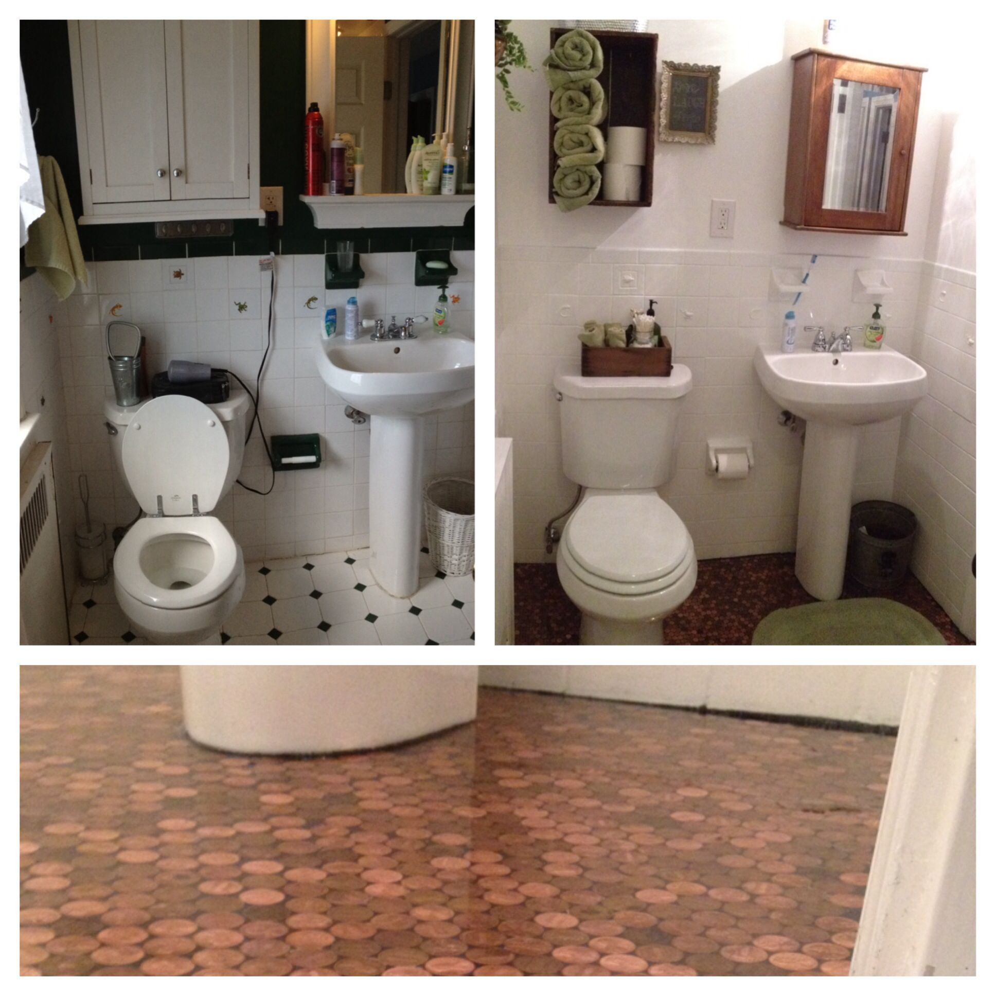 Bathroom makeover with a penny floor epoxy paint over ceramic bathroom makeover with a penny floor epoxy paint over ceramic wall tile started with dailygadgetfo Choice Image