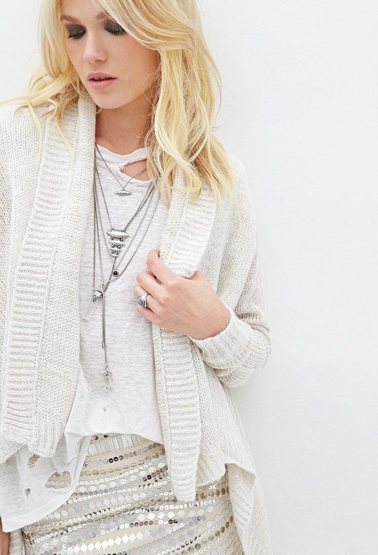 Open-Knit Shawl Collar Cardigan | Forever 21