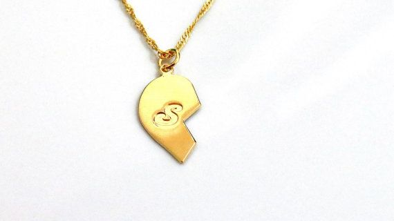Gold Helf Heart Necklace  Personalized Letter on Helf by MeOro