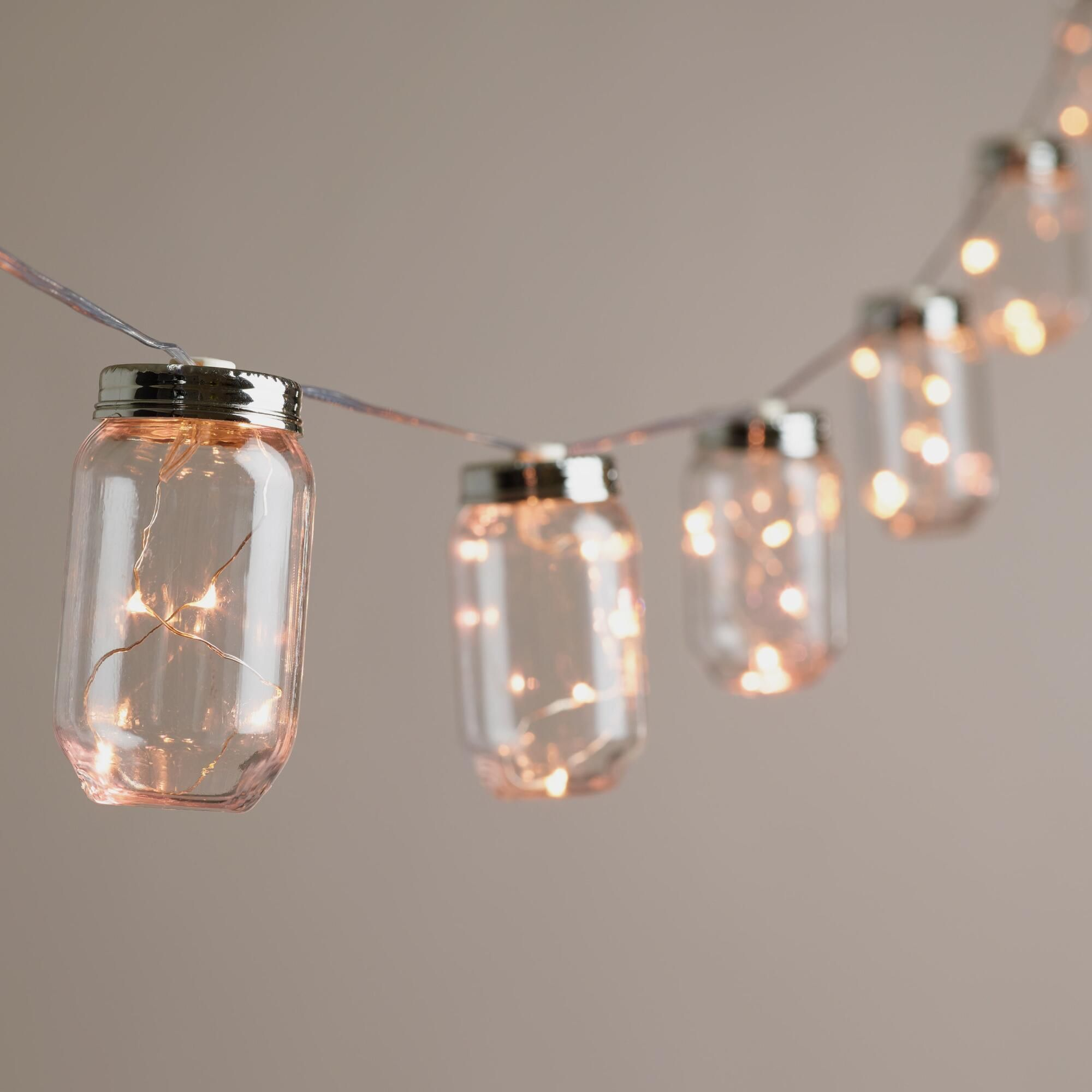 String Lights With Battery: Mason Jar Firefly 10 Bulb Battery Operated String Lights