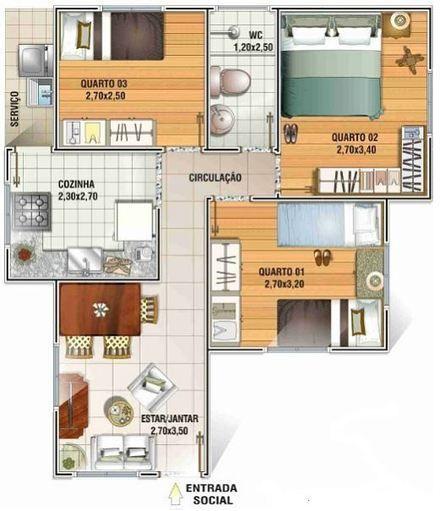 casas - Pesquisa Google planos Pinterest - plan maison avec appartement