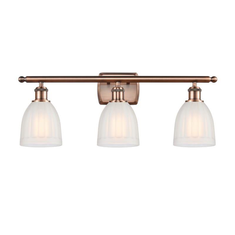 "Photo of Innovations lighting 516-3W Brookfield Brookfield 3 Light 26 ""wide bathroom Vani antique copper / white interior lighting bathroom fittings Vanity Light"
