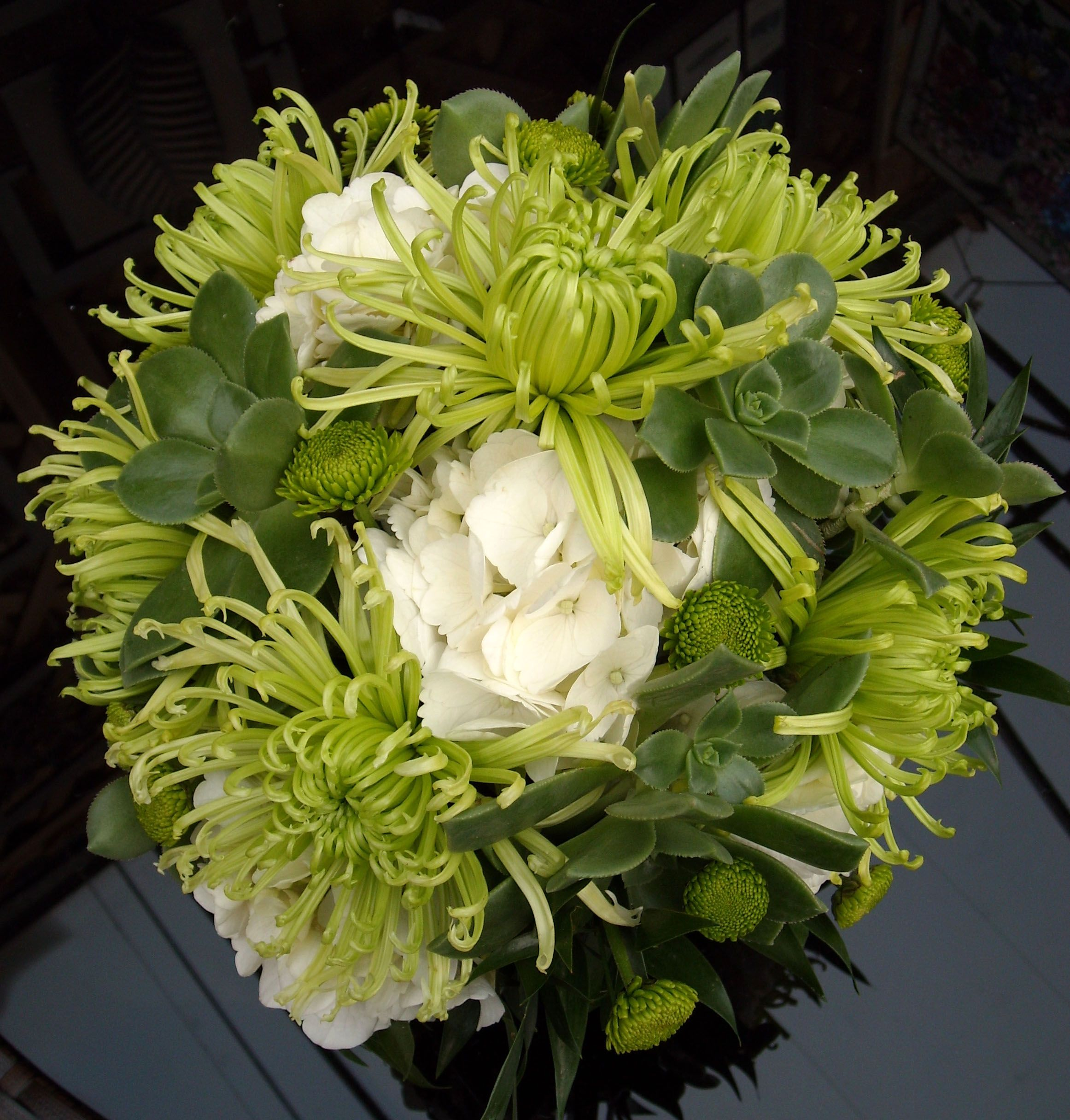 Posy Wedding Bouquet With Green Spider Mums White Hydragea Button And Succulents