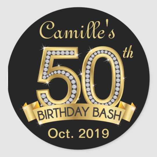 Diamond 50th Birthday Stickers Black And Gold Zazzle Com Birthday Stickers 50th Birthday 50th Birthday Centerpieces