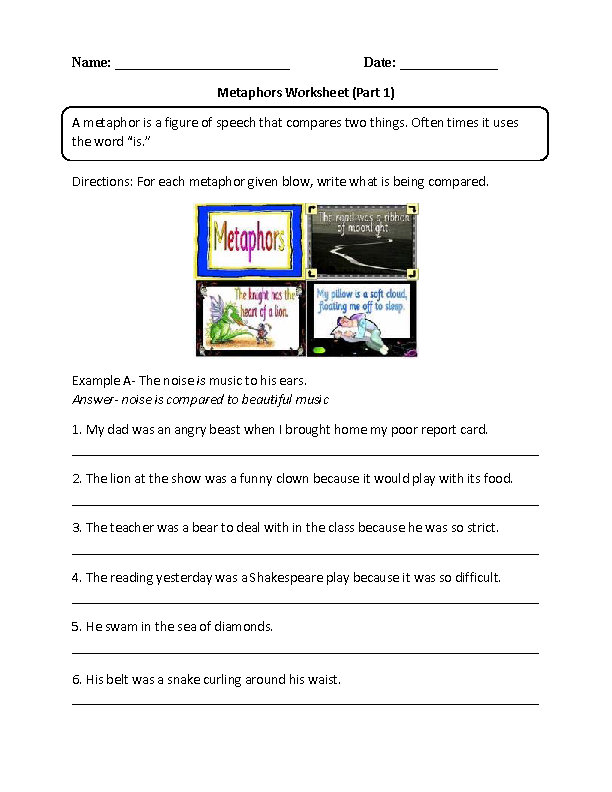 math worksheet : comparing metaphors worksheet  6th grade ela  pinterest  worksheets : What Is A Metaphor Math Worksheet