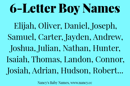 6 Letter Boy Names Lists Of Names Cool Baby Boy Names