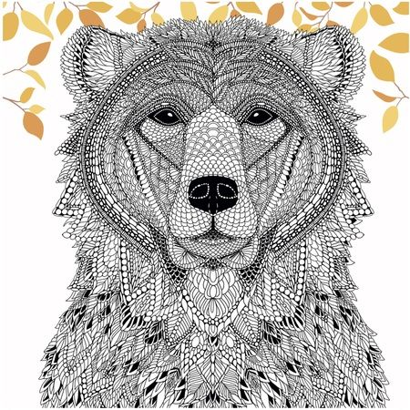 Color A Bear From The Menagerie Free Adult Coloring Page Ours