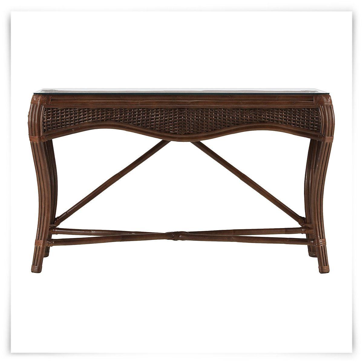 Shore Mid Tone Woven Console Table 449 City Furniture Console