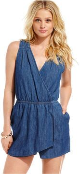 03de6468a5 shopstyle.com: Jessica Simpson Juniors Romper, Sleeveless Faux-Wrap Denim
