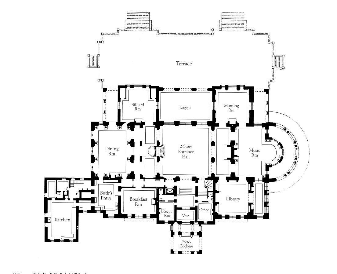 Wayne Manor Inspiration First Floor Of The Breakers Floor Plans Architectural Floor Plans How To Plan