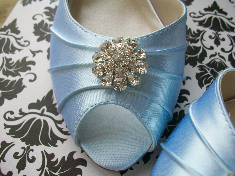 Baby blue 1 34 heel satin shoes with rhinestones
