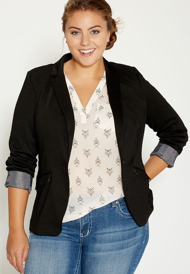 698709d243c Plus Size Knit Blazer With Striped Cuffs In Black