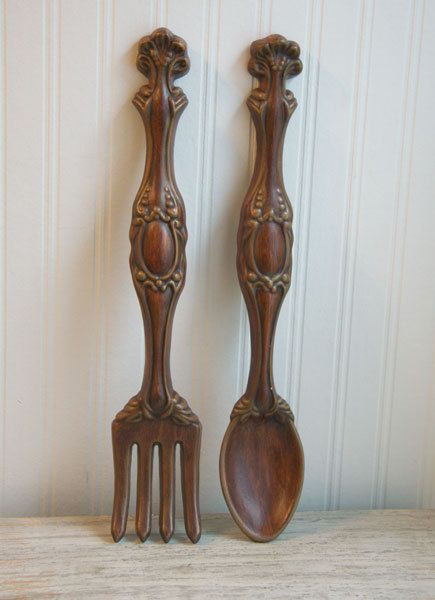 Large Fork Spoon Wall Hanging Vintage Ceramic Brown By Mollyfinds