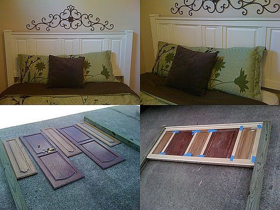 Headboard Made Out Of Inexpensive Kitchen Cabinet Doors.