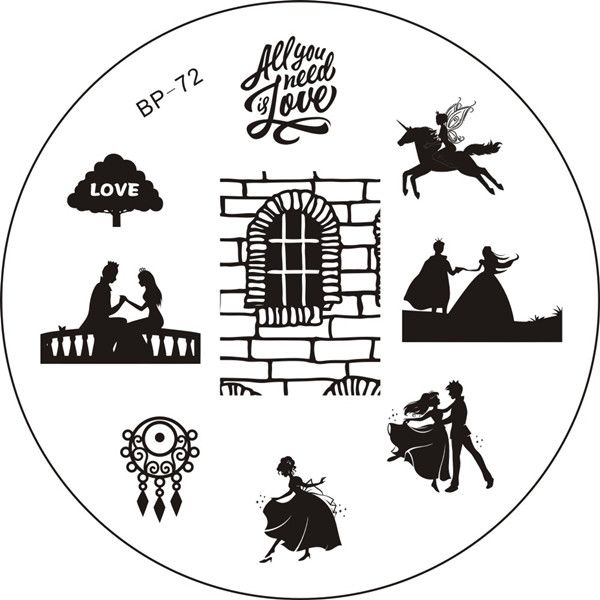 Nail Art Stamping Image Plate - Born Pretty (BP-72) - Love, Valentine's Day, Couples, Fairytale