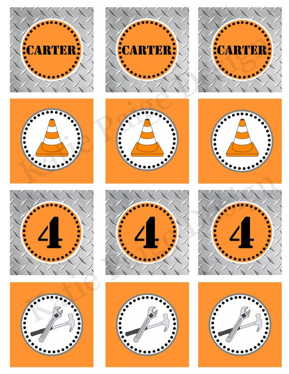 Printable Customized Cupcake Toppers - Construction Birthday Party Collection