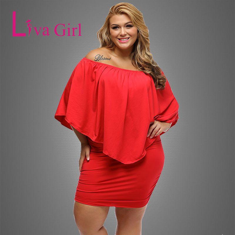 e0cea8990f6 Liva Girl 2018 Women Plus Size Dress Red Off Shoulder Femme Sexy Autumn  Dresses Large Big Size Women Casual Mini Dress XXXL XXL Price  29.84   FREE  Shipping ...