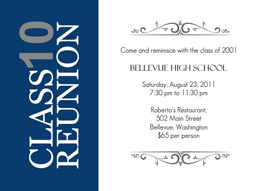 Blue and Gray with Vertical Stripe Class Reunion Invitation | Class ...