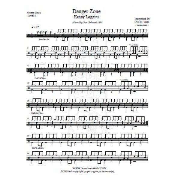 Drum Score - Kenny Loggins - Danger Zone | www drumscoreworld com in
