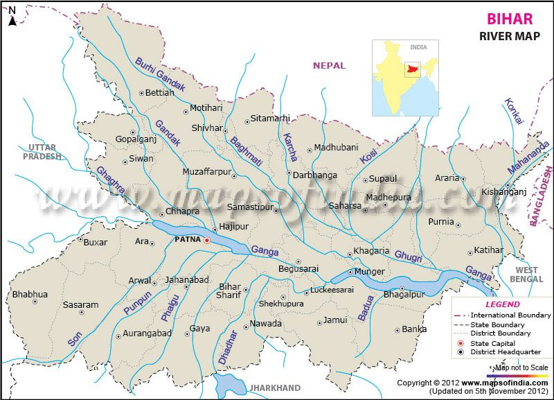 River Map of Bihar | India Maps in 2019 | India map, Map, River