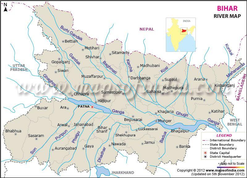 River Map of Bihar | 122  INDIAN States & Territories in