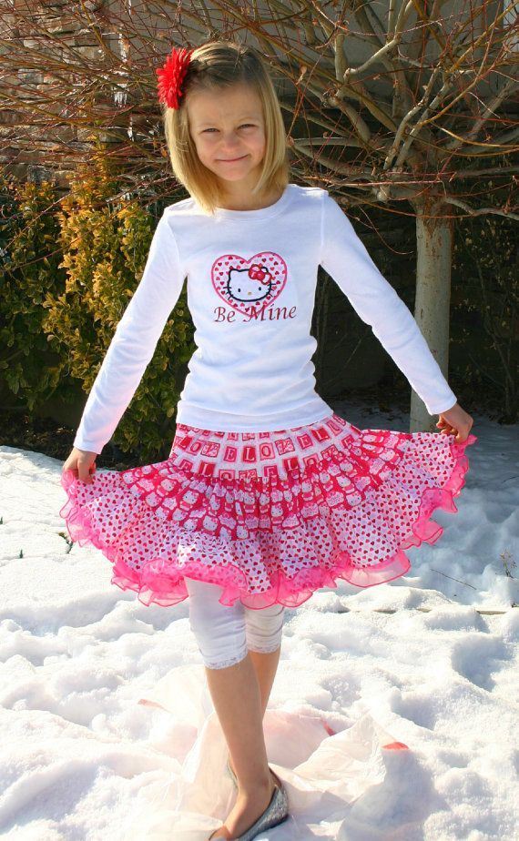 aris angels girls kitty valentine outfit valentines shirt full twirling skirt - Girls Valentines Outfit