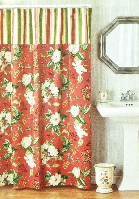 Waverly Garden Images Coral Pink Floral Fabric Shower Curtain Magnolia  Flower   Shower Curtains Traditional Shower