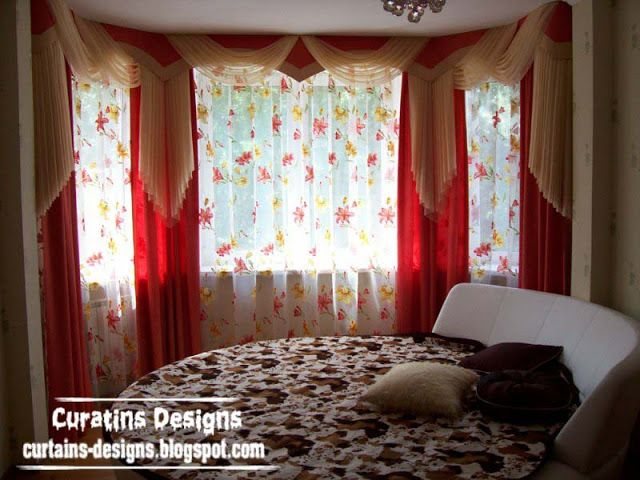 Contemporary red drapes curtain design for bedroom | Curtains ...