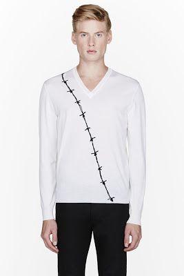 Alexander Mcqueen White Barbed Wire V_neck Sweater
