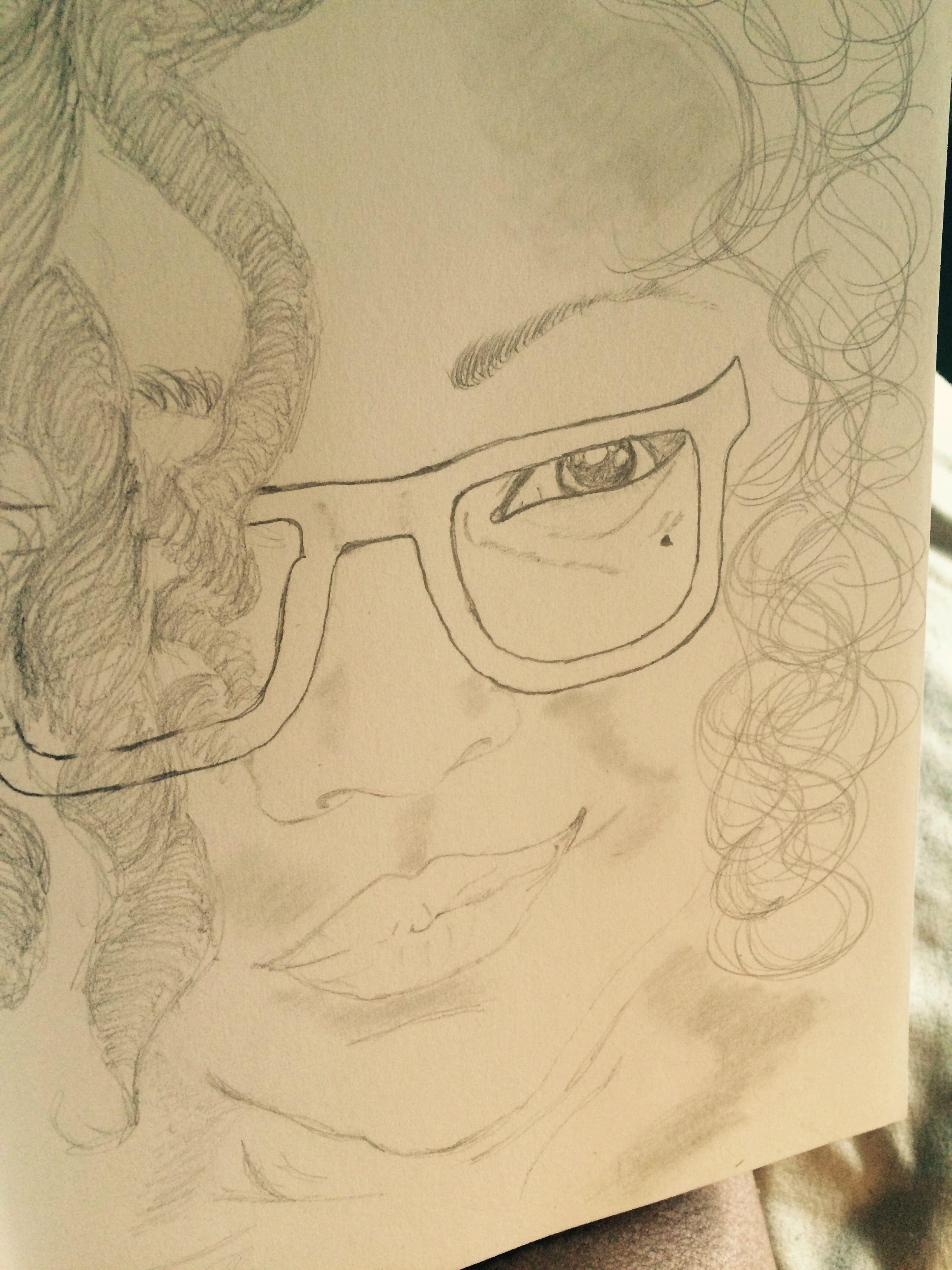 Sketch, art, drawing, wall art, self portrait, pencil, pencil ...