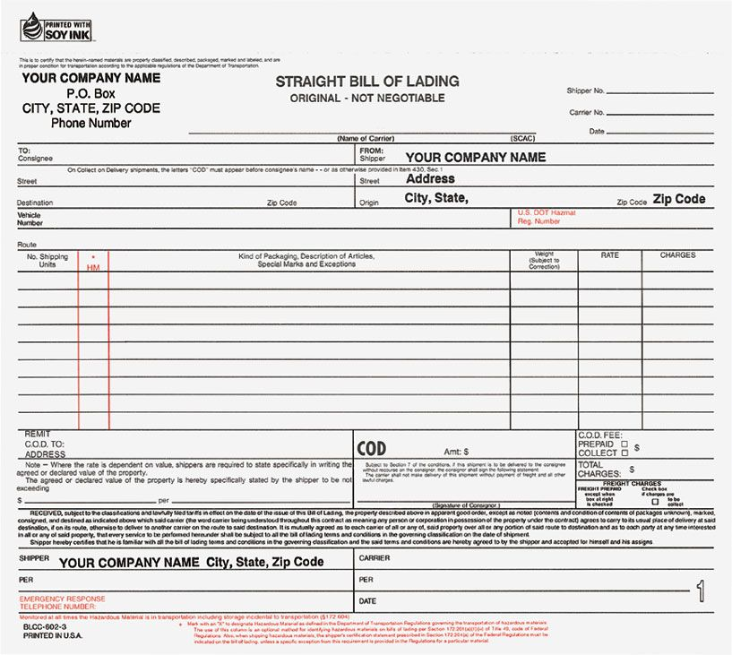 Printable Sample Bill Of Lading Form Form  Real Estate Forms Word