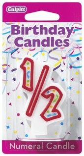 Red Numeral Candle 1 2 Half Birthday 12th 2nd Parties