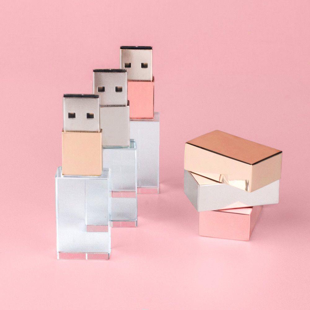 Crystal USB 3.0 Flash Drive Customized Elegant Paper Box Photo Wedding Pendrive