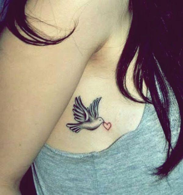 Small Dove And Heart Tattoo Design Dove Tattoos Waist Tattoos Small Dove Tattoos